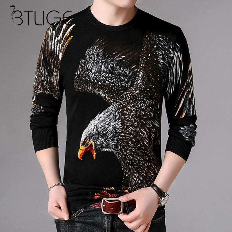 Eagle Printed 2018 Sweaters Men New Fashion Casual O-Neck Slim Cotton Knit Quality Mens Sweaters Pullovers Men Size M-3XL