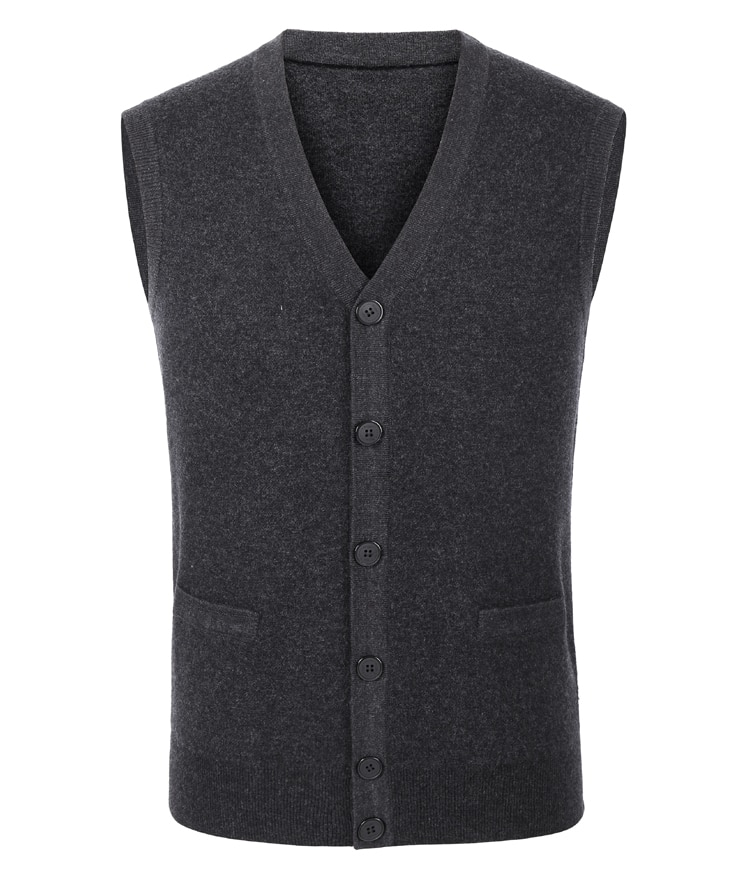 Famous Brand Men's High Quality Cashmere Casual Knitted V-neck Vest Thick Warm Elastic Male Pure Color Wool Sweater Size XS-3XL