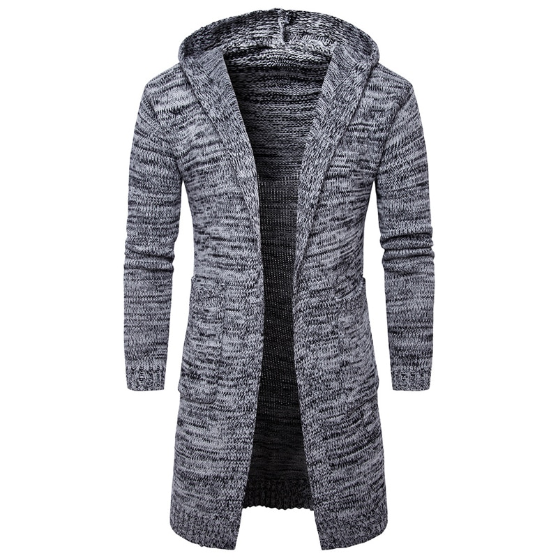 Fashion style 2018 New long sleeve mens hooded cardigan sweaters casual mens knit coat fashion mens long style clothing sweaters