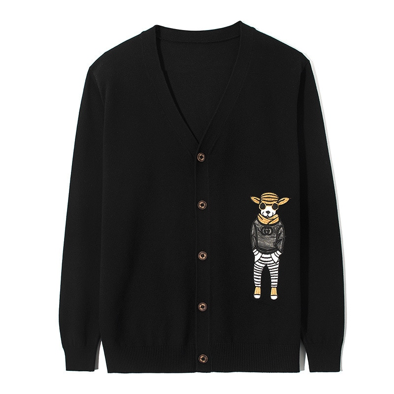 Funny Christmas Men Sweater Cartoon Pattern Men Cardigan 2018 Spring Japanese Style Black Knitted Mens Jersey Outerwear Coats