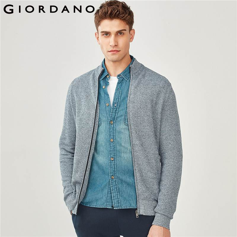 Giordano Men Cardigan Men Sweater Combed Cotton Ribbed Mockneck Cardigan Men Zip Fly Quality Chompas Para Hombre