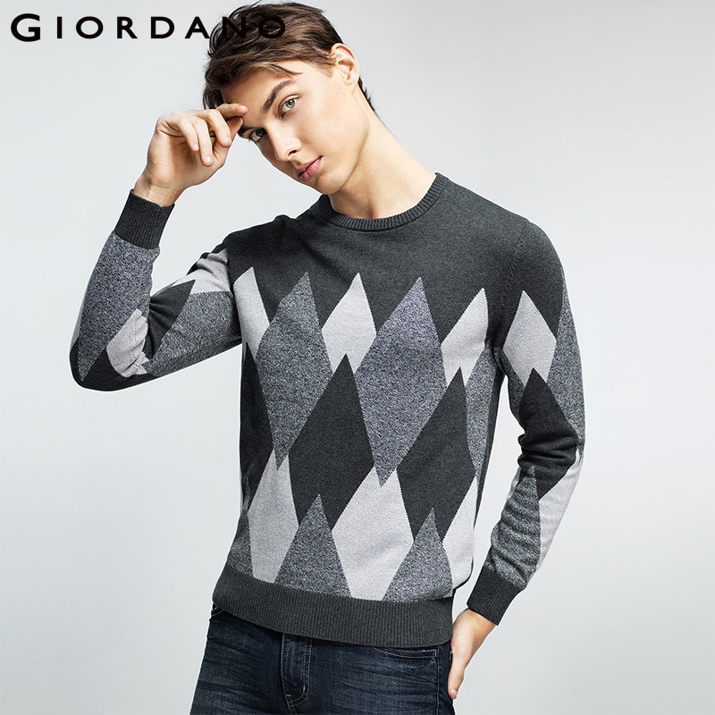 Giordano Men Sweater Combed Cotton Knitted Tops Fashion Pullover Knitwear Long Sleeves Crewneck Male Garment 2018