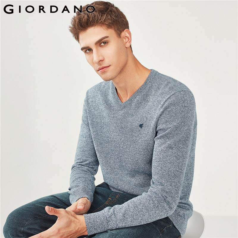 Giordano Men Sweater Men Embroidery Frog V Neck Pullover Sweater Men 100% cotton Soft Ribbed Cuffs Pull Homme Gentlemen Sweater