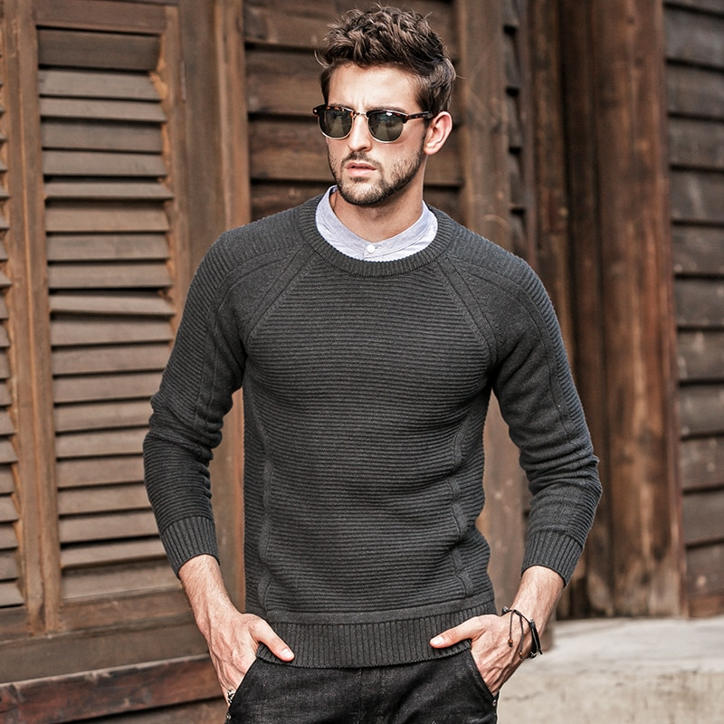 GustOmerD Autumn Winter Sweater Men Knitted Long Sleeve Solid Color Sweaters Man's Pullover O-Neck Striped Sweaters Mens