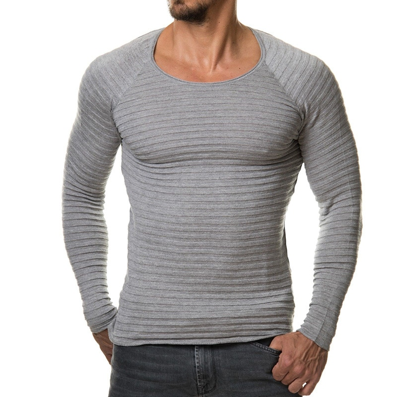 IEF.G.S Men's leisure clothes sweater slim striped long-sleeved tops round collar pullover topshirt mens sweaters 2018 cardigan