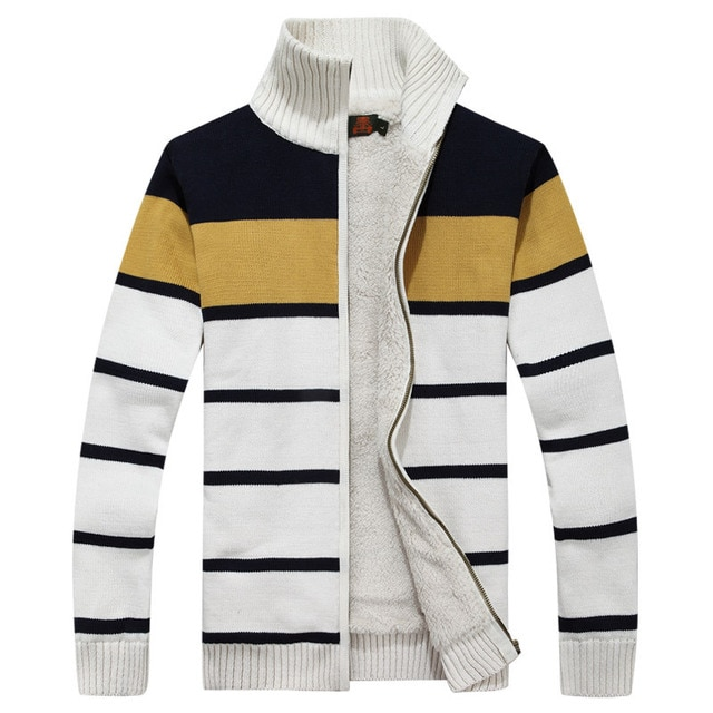 Icpans Men Sweater Cardigan Striped Autumn Winter Men Sweaters With Zippers Casual Warm Fleece Sweater Knitted Hombre
