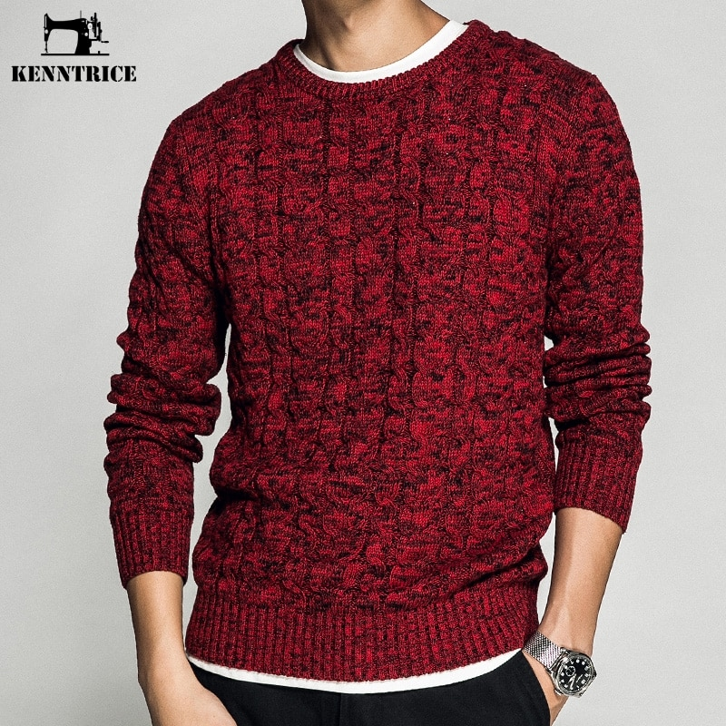 KENNTRICE Fashion Autumn Knitted Mens Sweaters 2018 Men Jumper Red Color Cotton Christmas Sweater Men