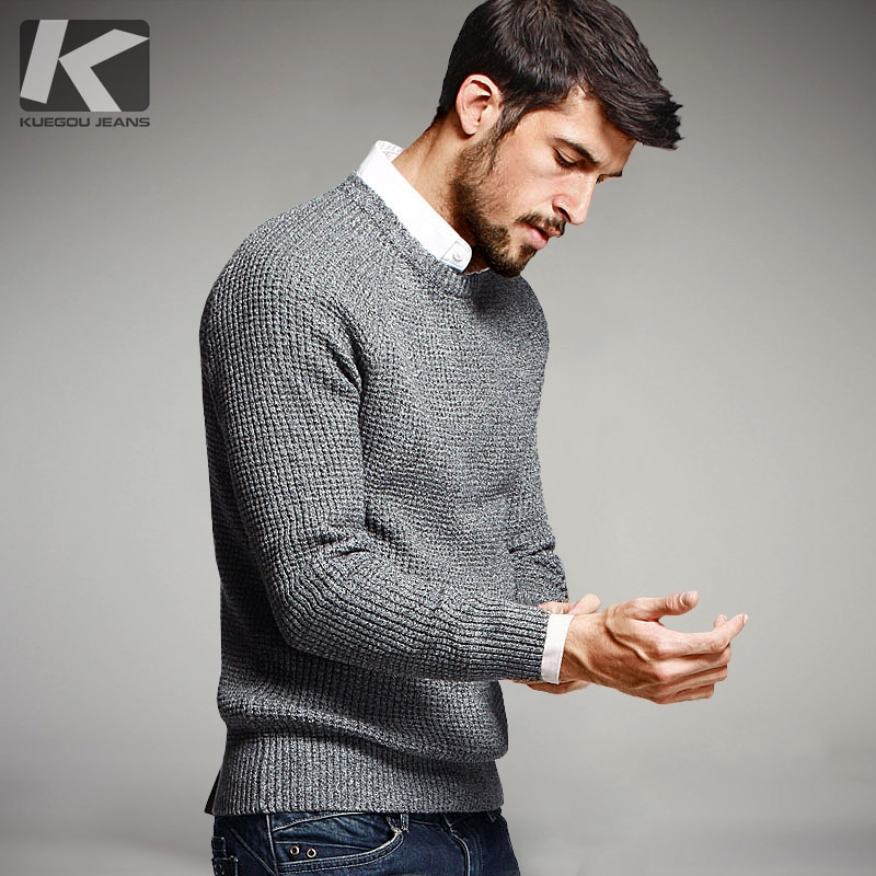 KUEGOU Autumn Mens Sweaters 100% Cotton Gray Color Knitted Brand Clothing Man's Knitwear Pullovers Knitting Plus Size Tops 14012