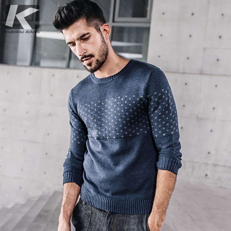 KUEGOU New Autumn Mens Fashion Sweaters Patchwork Blue Color Knitted Brand Clothing For Man's Slim Knitwear Male Pullovers 17015