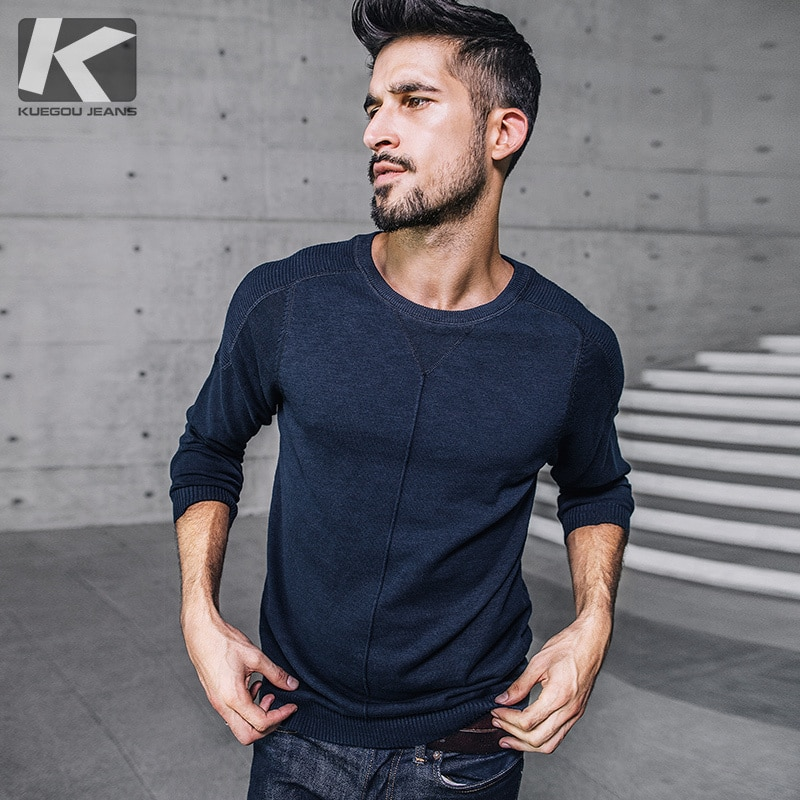 KUEGOU New Autumn Mens Sweaters Patchwork Blue Black Gray Color Knitted Brand Clothing For Man Slim Knitwear Male Pullovers 9820