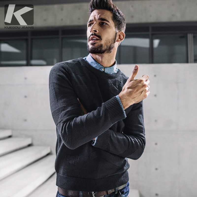 KUEGOU New Autumn Mens Sweaters Pattern Black Color Knitted Brand Clothing Man's Slim Fit Knitwear Pullovers Male Clothes 17017