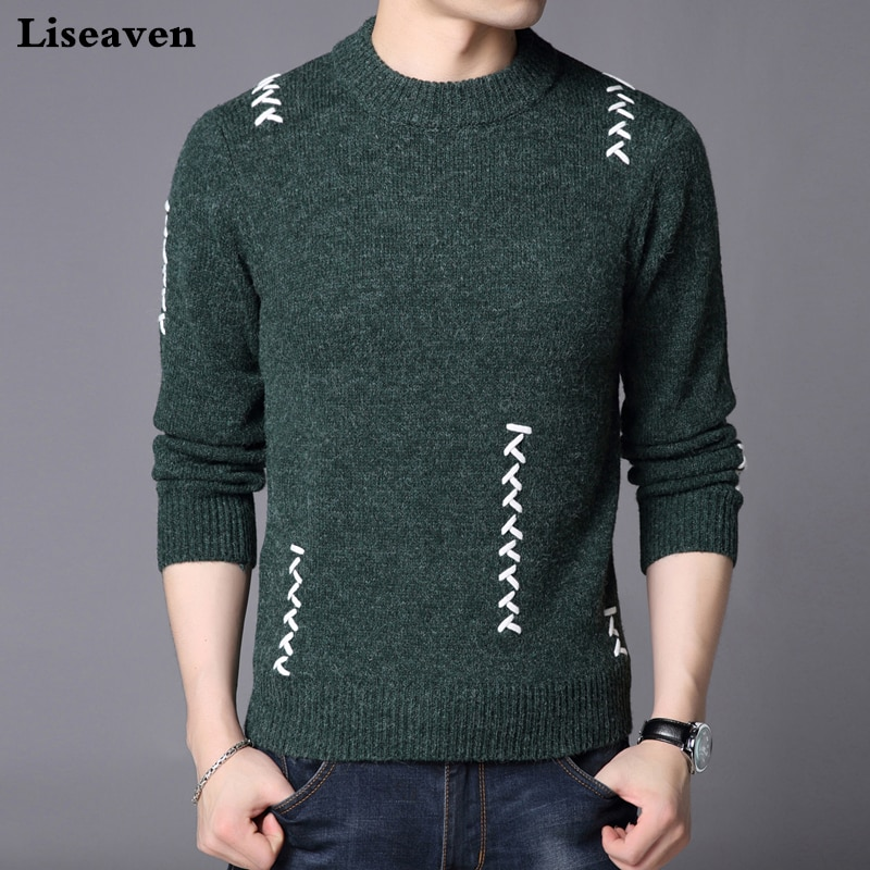 Liseaven O-Neck Men Sweater Winter Casual Pullover Sweaters Warm Men's Long Sleeve Pullovers
