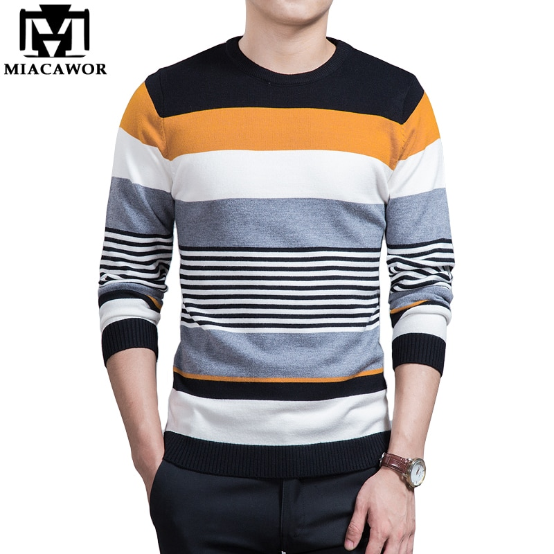 MIACAWOR 2018 New Men Sweater Fashion Striped Knitwear Autumn Pullover Men Slim Fit Pull Homme Brand Clothing MY059