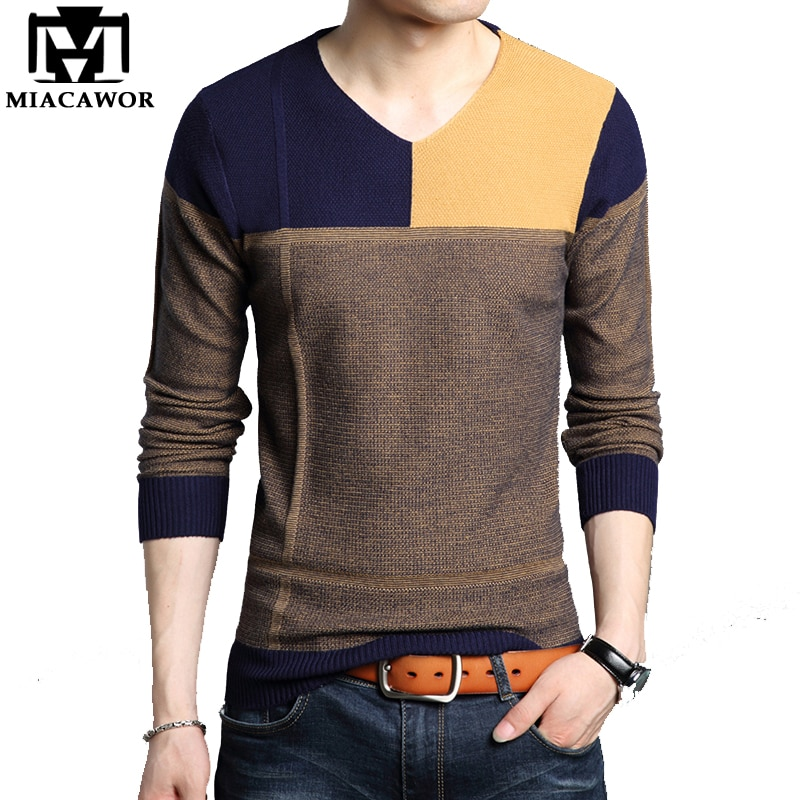 MIACAWOR New 2018 Autumn Winter Pullover Men Casual Male Sweater Slim Fit V-Neck Pull Homme Men Clothes Y066