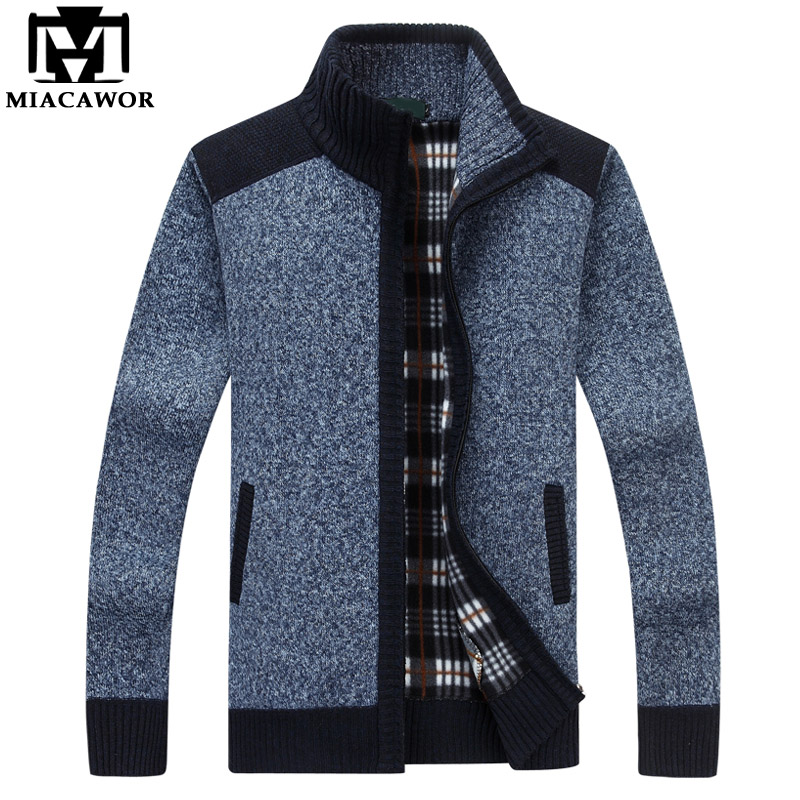 MIACAWOR New Autumn Winter Fleece Sweaters Men Casual Cardigan Male Warm Sweater Coats Zipper Pull Homme Men Clothes Y080