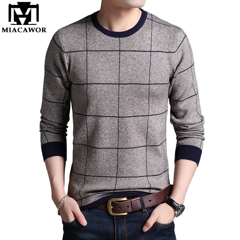 MIACAWOR New Cashmere Sweater Men Autumn Winter Wool Sweaters Plaid Business Casual Pullover Men Knitted Sweater Clothes Y073