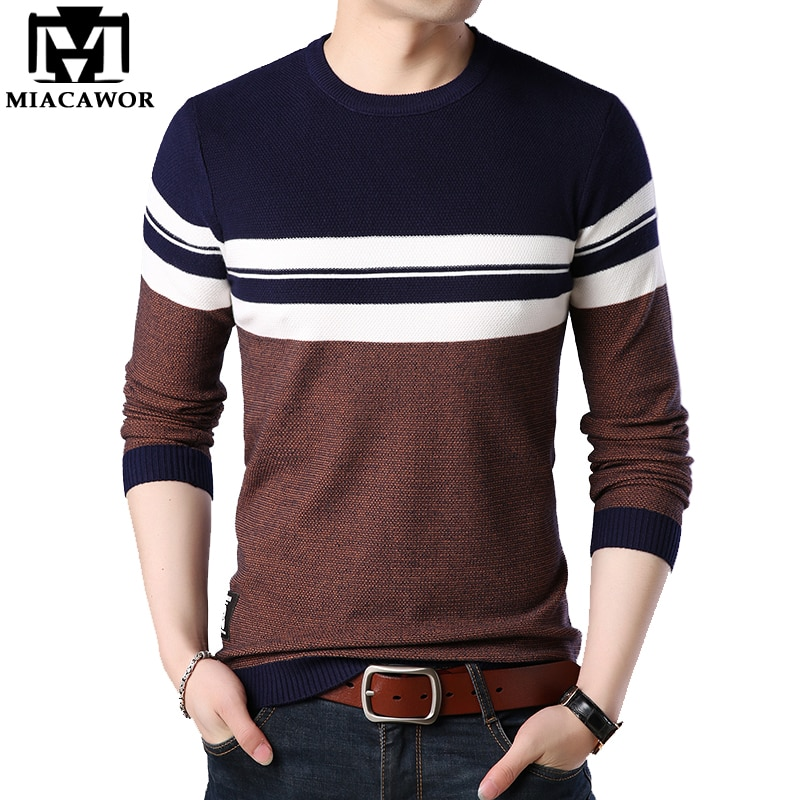 MIACAWOR New Fashion Men Sweater Autumn Winter Casual Pullover Men Slim Fit Knitted Sweater Men Clothes Y068