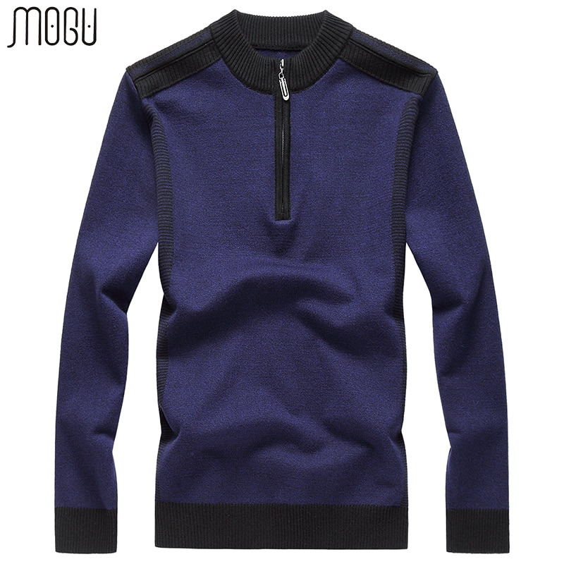 MOGU Patchwork Pullover Sweater Men 2017 Autumn New Casual Pullover Male Slim Fit Wool Sweater Men Asian Size 8XL Men's Sweater