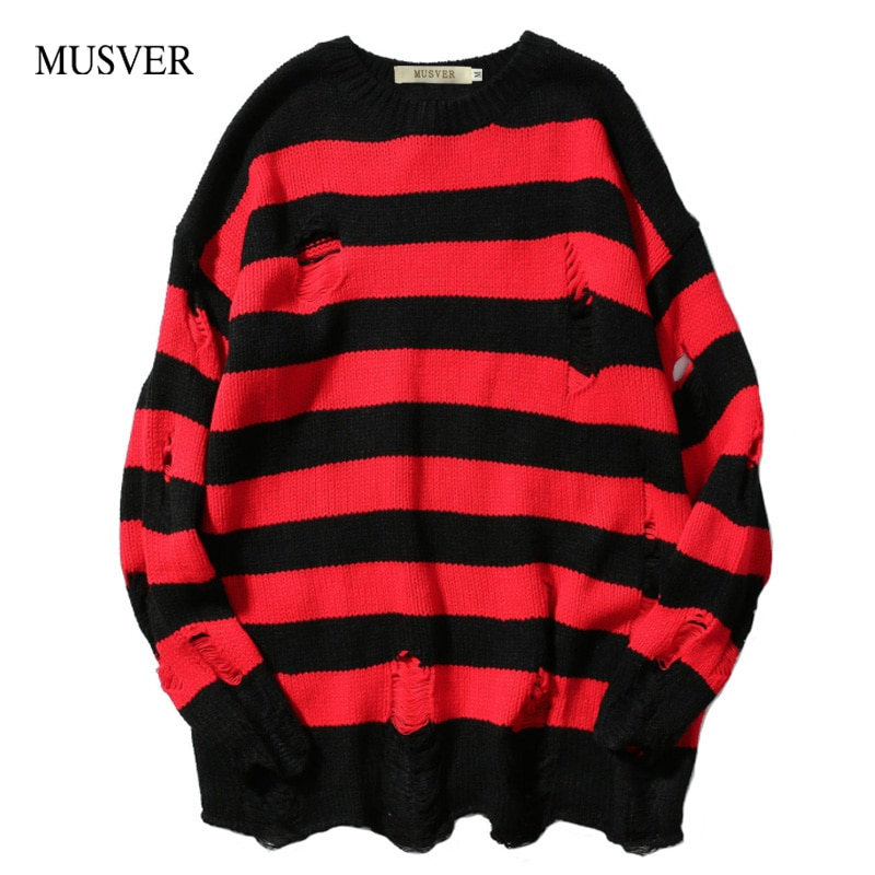 MUSVER 2018 Autumn Winter Fashion Ripped Stripe Knit Sweaters Men Hip Hop Hole Casual Pullover Male Loose Long Sleeve Sweaters