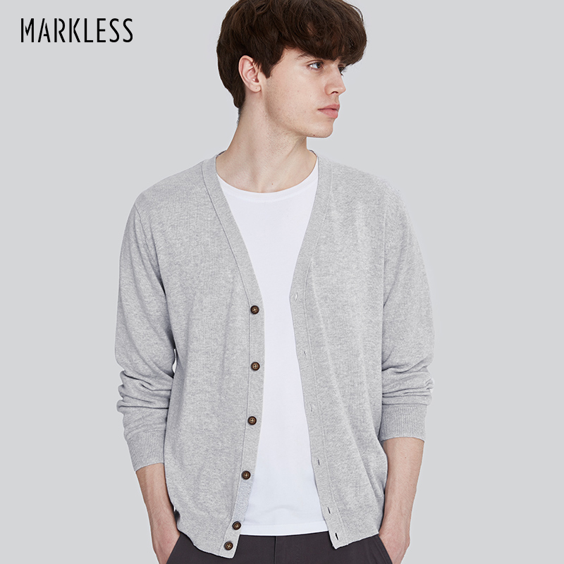 Markless Knitted Sweater Men Ramie Cotton Cardigans 2018 Autumn Long Sleeve Solid Color V-neck Knitting sueter hombre MSA7721M