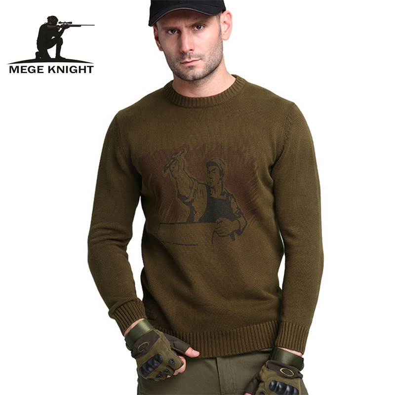 Mege Brand Clothing Autumn Men's Sweaters Military Army Casual Style Cotton Knitted Sweaters for Men Pullover Male Pull Homme