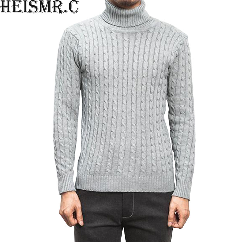 Men'S Turtleneck Sweater 2017 New Winter Men'S Solid Color Casual Sweater Men's Brand Knitted Pullovers And Sweaters 5XL HJK97