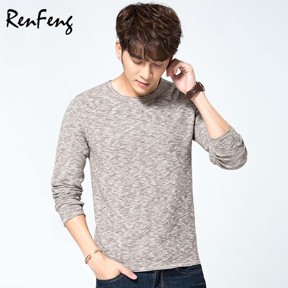 Men Sweater Pullover Basic Knitted Bamboo Cotton Tops Solid Crew Neck Essential Jumper Long Sleeve Sweaters Autumn Winter tops