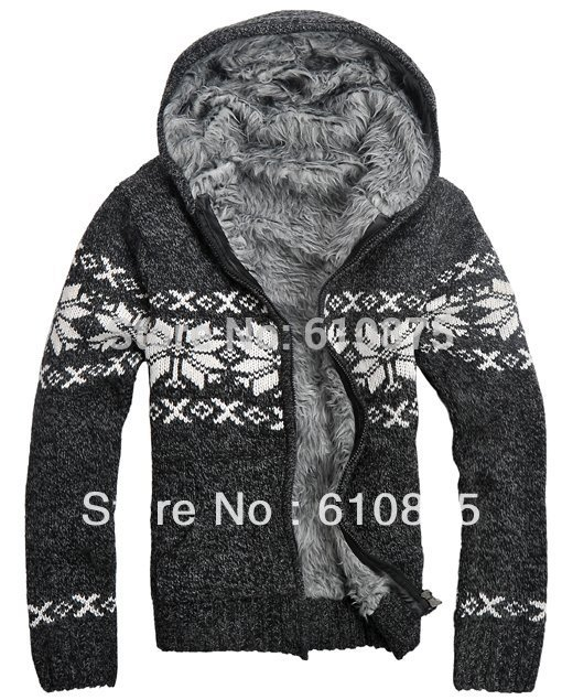 Men Winter Plus Velvet Jacquard Knitted Outerwear Male Thick Hooded Cardigan Sweater Men Winter Oversized Zip Warm Outerwear