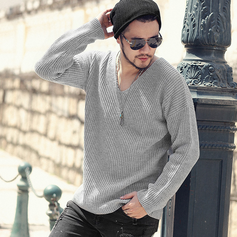 Men new winter warm sweater casual pullover men long sleeve cotton woolen bottoming knitted sweaters v neck European style