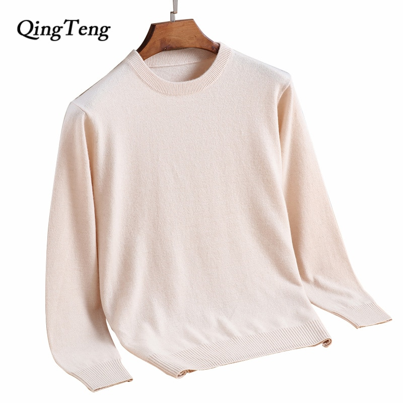 Men's O-Neck Sweater Knitted Long Sleeve Jumper Cashmere Wool Winter Warm Jacket Jersey Plus Sizeluxury Soft Slim Fit Pullover