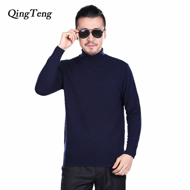 Men's Pullover Oversize Knitted Jacket Xxxl Warm Winter Cashmere Wool Men's Sweaters With High Collar Navy Blue Middle Ages