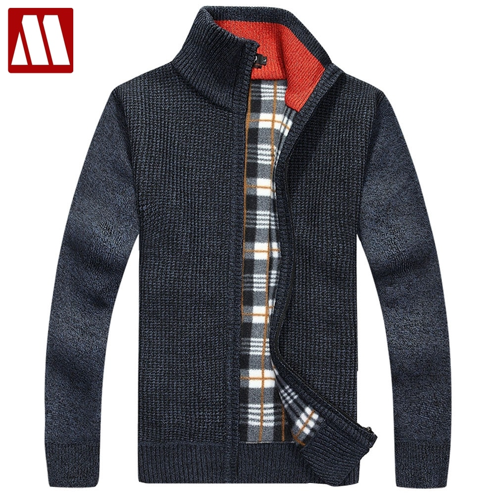Men's Sweaters Winter Warm Thick Velvet Sweatercoat Zipper Collar Casual Cardigan Men Sweaters Pattern Knitwear Big Size 3XL 2XL