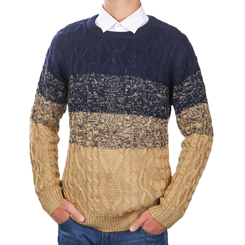 Men's new sweater color knit sweater fashion loose neck men's long sleeve knitted men's sweater