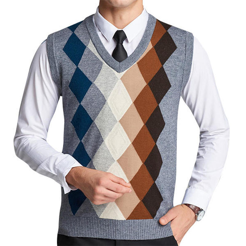 Mens Sweater Vest Wool Pullover Sleeveless Waistcoat Plaid Fleece Vest Casual Men's V-collar Knitted Cashmere Sweater Vest Men