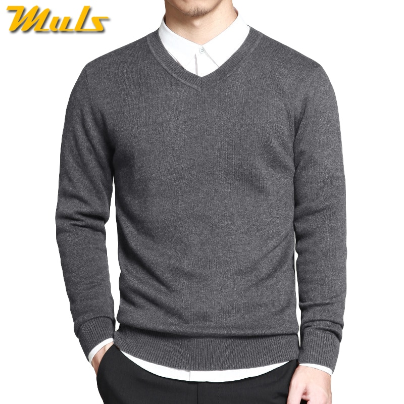 Merino Wool Sweater Pullovers Men V Neck Long Sweater Jumpers Luxury Winter Warm Mercerizing Fleece Male knitwear Autumn Spring