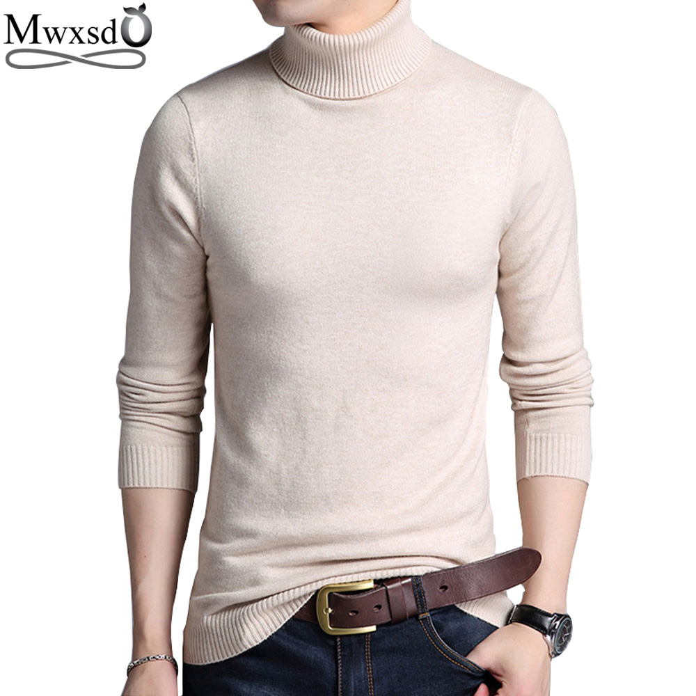 Mwxsd Autumn Winter fashion mens Turtleneck Pullover Sweaters Men Solid Long Sleeve Pullovers Men Soft Knitwear Jumpers Sweater