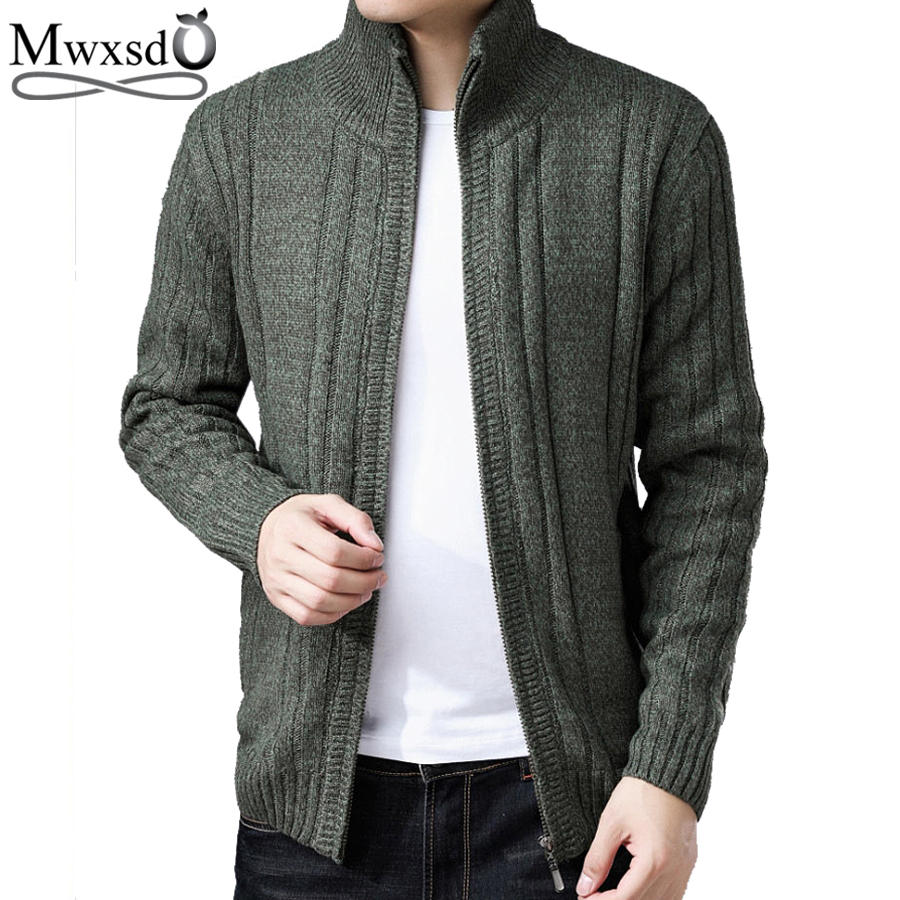 Mwxsd winter men's casual thick warm fur cardigan sweater men wool cotton warm knitted cardigan overcoat jacket male pull homme