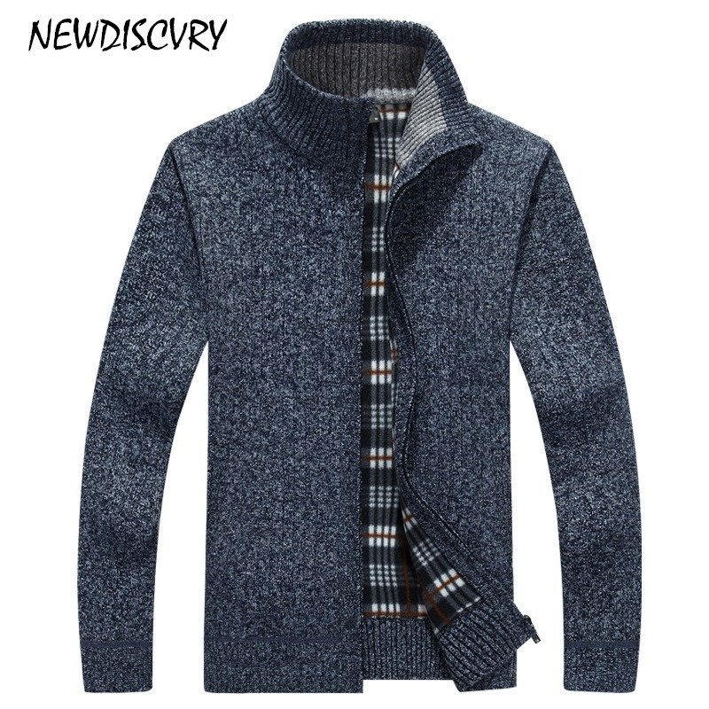 NEWDISCVRY Fleece Men's Cardigan Sweater 2018 Winter Stand Collar Men Knitted Clothes Cotton Warm Thick Casual Man Knitwear coat