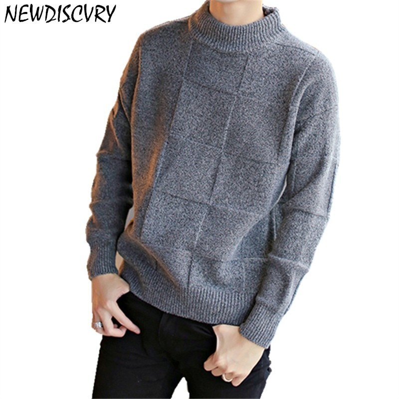 NEWDISCVRY Men's Sweater Autumn Winter Knitted Men Loose Jumper Male 2018 Pullover Basic Classic Man Knitwear