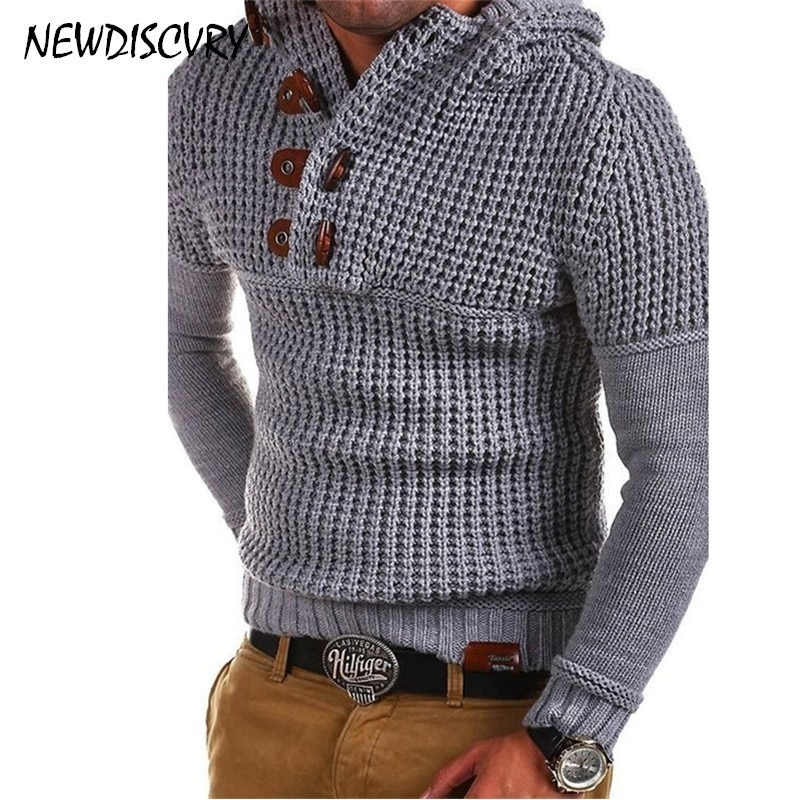 NEWDISCVRY Sweater Men Cloth 2018 Autumn Winter Fashion Button Men's Knitted Pullovers Casual Man Knitwear Slim Fit Pull Homme