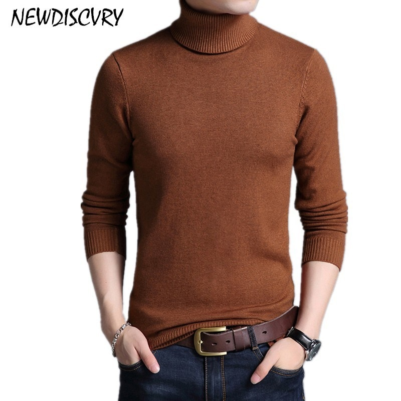 NEWDISCVRY Winter Thick Warm Sweater Men 2018 Turtleneck Slim Men's Knitted Pullover Cotton Man Knitwear Solid Male Pull Homme
