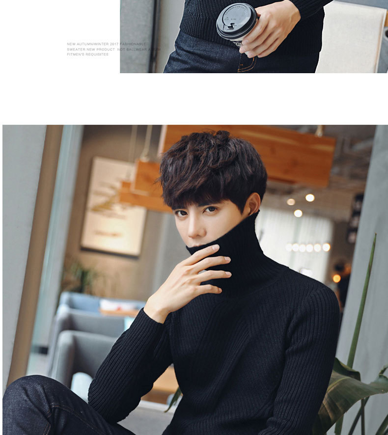 New men's sweater Korean turtleneck sweater Men's knitted sweater Young couple sweater