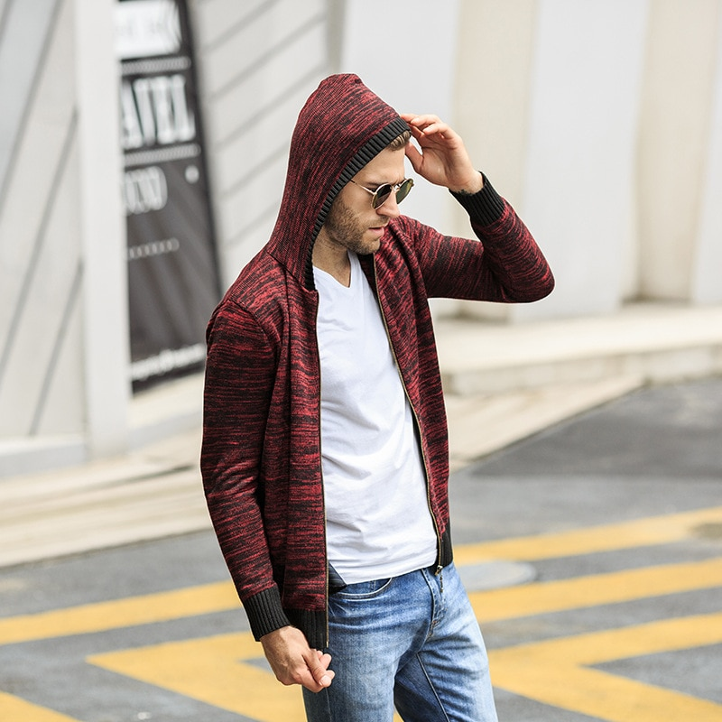 Nianjeep 2018 Fashion Cardigan Sweater Mens Stand Collar coat sweater hooded men plus size 3XL