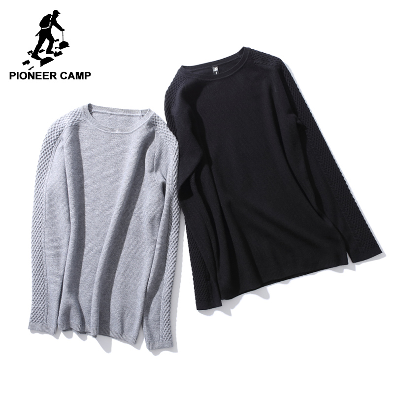 Pioneer Camp new design sweaters men brand-clothing fashion knitting casual pullovers male top quality black grey AMS702433