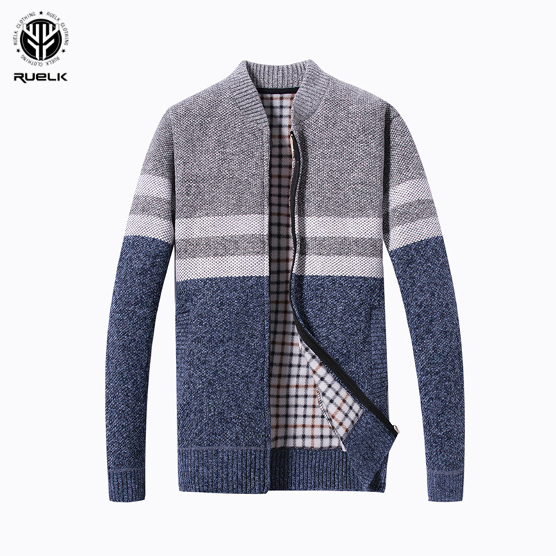 RUELK 2018 Fashion Mens Wool Cardigan Sweaters Men'S Thick Stand Collar Pullover Korean Full Sleeves Slim Solid Mens Sweaters