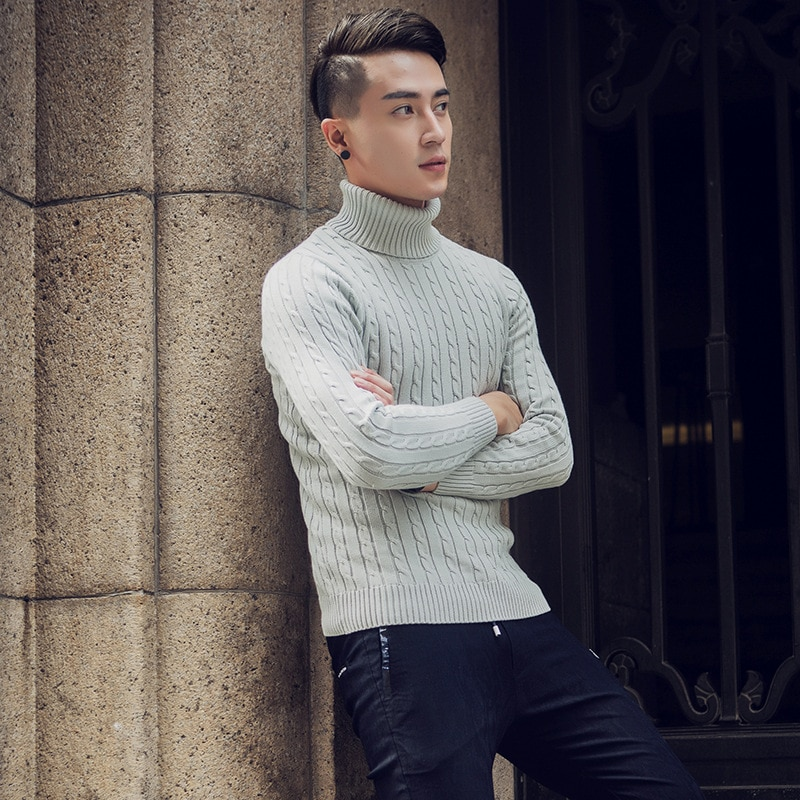 Ropa Coat Jersey Hombre Men Spring Invierno Slim Fit Casual Korean Turtleneck Kardigany Cashmere Knitted Long Sleeve Sweater
