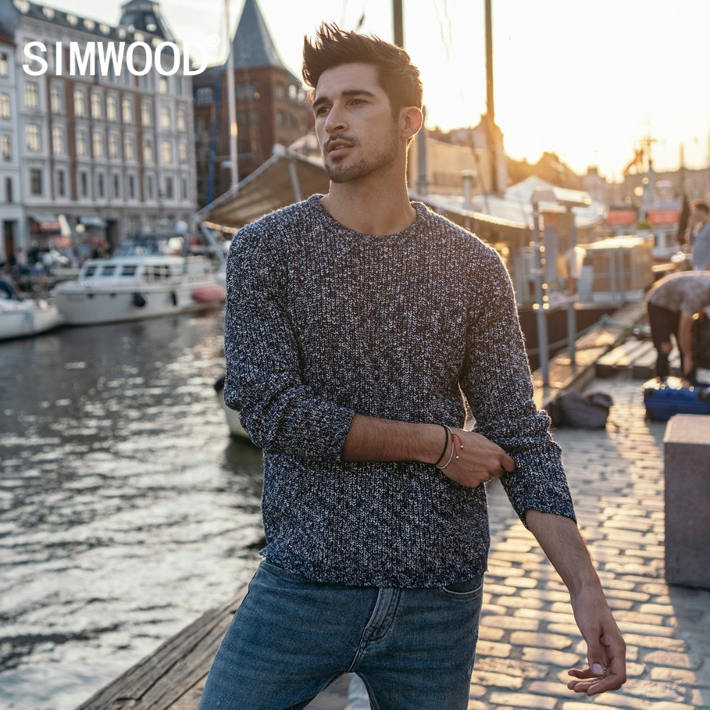 SIMWOOD Mix Cashmere Sweater Men Heathered Color Design Autumn Winter New Sweaters Warm Pullover Plus Size Brand Clothing 180553