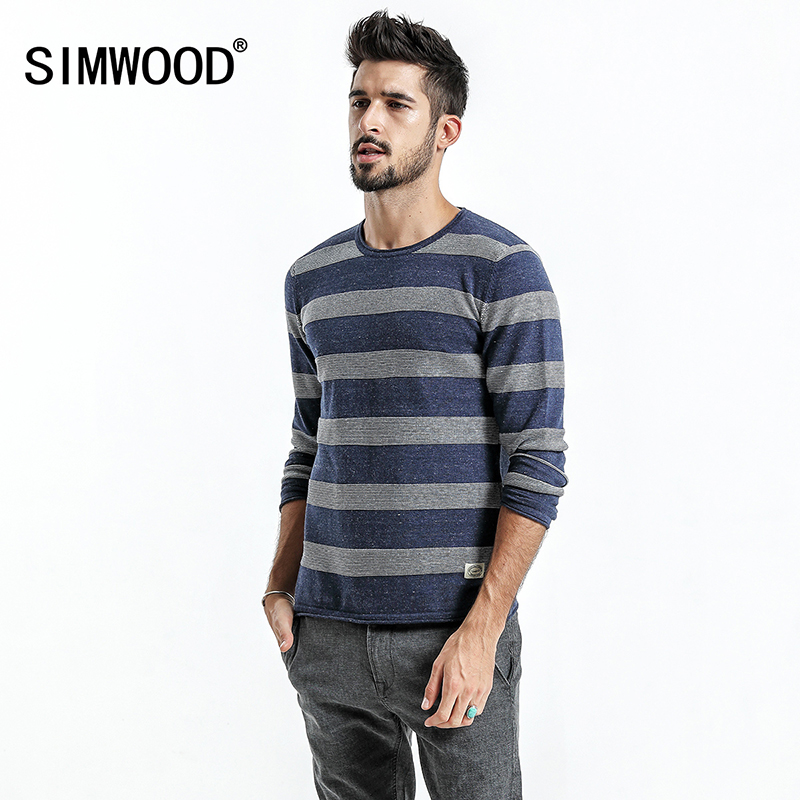 SIMWOOD Sweater Men 2018 autumn New Slim Fit Striped Knitted Sweaters Male Plus Size Pullovers Brand Clothing MT017023