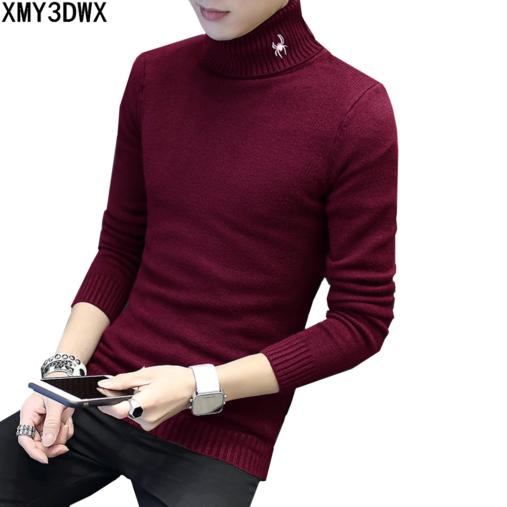 Slim Fit Knitting Mens Turtleneck Sweaters Long Sleeve male Pullovers New Autumn Winter warm Casual Outerwear Plus Size M-5XL