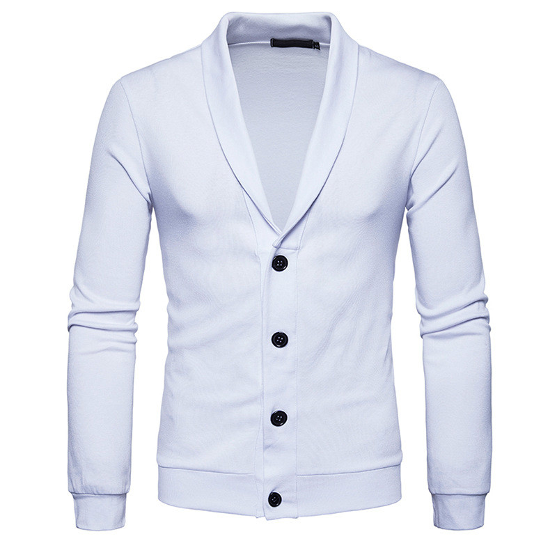 Stylish Pure White Sweater Coat Novelty Fitness Top Button Cardigan Men Clothing Long Sleeve Mens Sweaters Tops 2018 Sweater